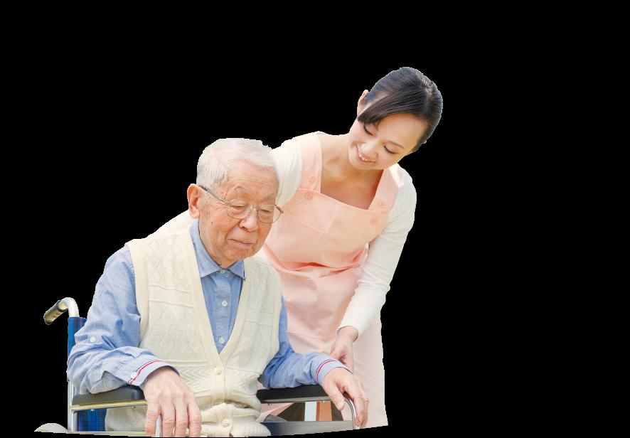 An Asian caregiver accompanying an elderly